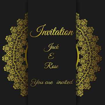 black wedding card gold invitation card template with gold border and frame , Invitation, Invitation Card, Invitation Template Background image