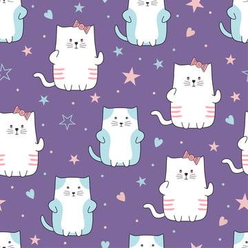 प्यारा बिल्लियों चरित्र सहज पैटर्न कार्टून शैली अजीब बिल्ली जानवर ड्राइंग पृष्ठभूमि वेक्टर चित्रण बच्चे और बच्चों के फैशन वस्त्र प्रिंट के लिए तैयार है , बिल्ली, पैटर्न, सुंदर पृष्ठभूमि छवि
