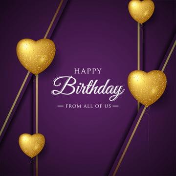 生日快樂慶祝版式設計賀卡海報或橫幅與現實的愛氣球 , 生日, 氣球, 金 背景圖片