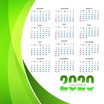 हरी लहर पृष्ठभूमि के साथ नया साल 2020 का कैलेंडर टेम्पलेट , सार, कैलेंडर, व्यापार पृष्ठभूमि छवि