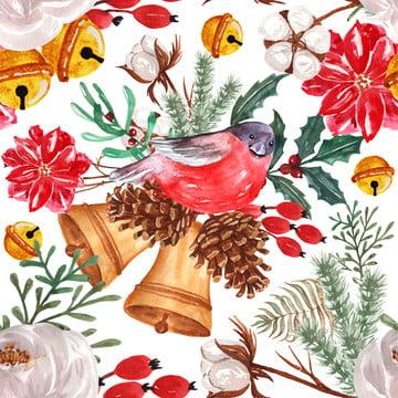 पक्षी के साथ निर्बाध पैटर्न जल रंग शीतकालीन पुष्प , पुष्प, पानी के रंग का, पैटर्न पृष्ठभूमि छवि