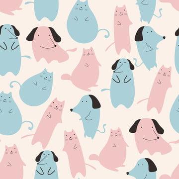 सफेद और सफेद पृष्ठभूमि पर प्यारा बिल्ली और कुत्ते के पशु पेस्टल रंग के साथ सहज पैटर्न बच्चों के लिए अजीब ड्राइंग बच्चों के लिए बच्चे को फैशन परिधान कपड़ा प्रिंट वेक्टर चित्रण , कुत्ते, पैटर्न, पशु पृष्ठभूमि छवि