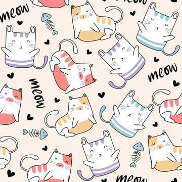 बच्चे और बच्चों के लिए प्यारा बिल्ली अजीब शैली कार्टून चरित्र फैशनेबल डिजाइन के साथ सहज पैटर्न फैशन प्रिंट वेक्टर चित्रण बचकाना चेहरा , बिल्ली, पैटर्न, सुंदर पृष्ठभूमि छवि