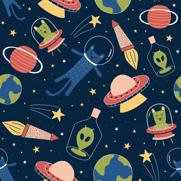 पृथ्वी ग्रह और बच्चों के लिए सितारों की पृष्ठभूमि के साथ आकाशगंगा पर प्यारा अजीब एलियंस और बिल्ली के साथ सहज पैटर्न बच्चों के बच्चों के परिधान परिधान प्रिंट वेक्टर चित्रण , पृष्ठभूमि, चित्रण, विदेशी पृष्ठभूमि छवि