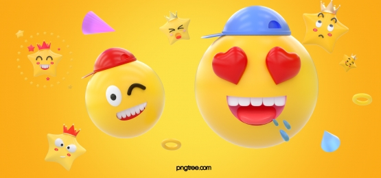 three dimensional star ring yellow emoji peach eye blinking expression background, Stereoscopic, Emoji Expression, Emoticon Background image