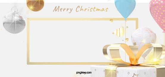 ホワイトクリスマスのお祝いギフト風船ゴールデンスクエアの背景, Christmas, 祝賀する, 白 背景画像