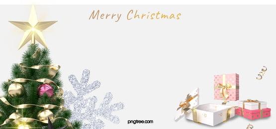presente de comemoração de natal branco árvore de natal fundo de floco de neve, Christmas, Comemorar, Branco Imagem de fundo