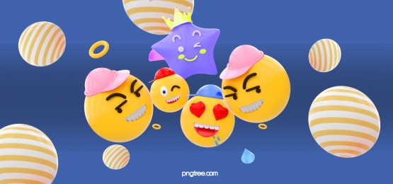 yellow horizontal stripes spheres stars group emoji expressions blue background, Stereoscopic, Stars, Emoji Expression Background image