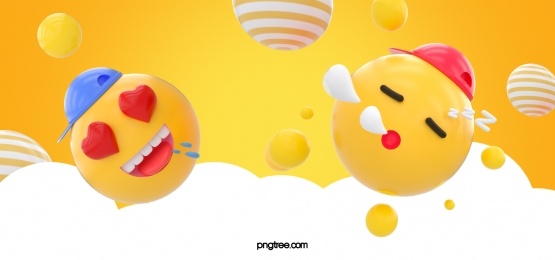 yellow stereo ball star cloud emoji peach heart eye sleep expression background, Stereoscopic, Stars, Emoji Expression Background image