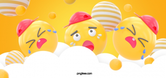 yellow three dimensional ball cloud emoji crying expression background, Stereoscopic, Stars, Emoji Expression Background image