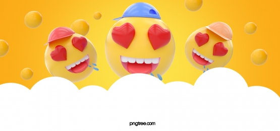 yellow three dimensional ball cloud emoji peach eye expression background, Stereoscopic, Emoji Expression, Emoticon Background image