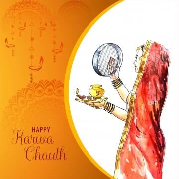 美しいインドの女性のお祝いkarwa chauth祭りの背景 , カルワ, 抄録, バックグロ 背景画像