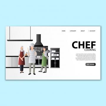 シェフのランディングページテンプレート , シェフ, イラスト, ベクター 背景画像
