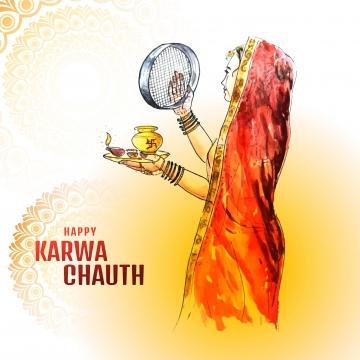 インドの女性の創造的な概念は、お祝いを祈るために月の出を見る , カルワ, 抄録, バックグロ 背景画像