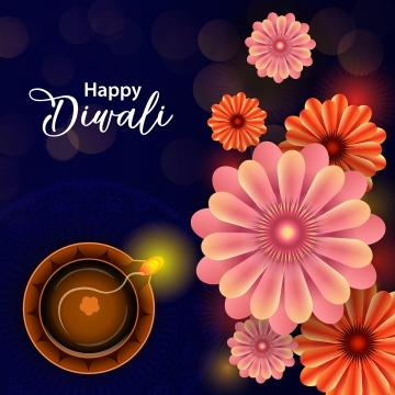 happy diwali festival floral diya greeting vector background , Sale, Invitation, Happy Diwali Background image