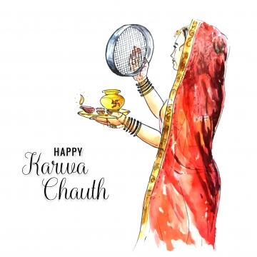 करवा चौथ का त्योहार मनाने वाली भारतीय महिला का चित्रण , करवा, सार, Backgroun पृष्ठभूमि छवि