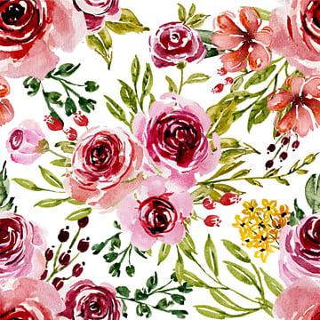 padrão sem emenda doce rosa aquarela flor design , Ilustração, Padrão, Aquarela Imagem de fundo