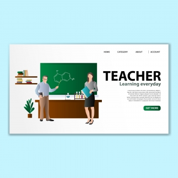 教師のランディングページテンプレート , テンプレート, 着陸, ベクター 背景画像