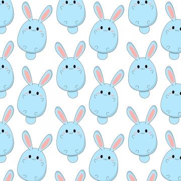 かわいい青いウサギパターン背景 , イラスト, プリント, 漫画 背景画像