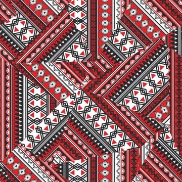 आदिवासी त्रिकोण धारियों के साथ जातीय निर्बाध पैटर्न वेक्टर चित्रण सार पृष्ठभूमि रंगीन फैशनेबल ड्राइंग लाल रंग , त्रिकोण, निर्बाध, ज्यामितीय पृष्ठभूमि छवि