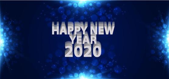 稲妻と暗い青色の背景での幸せな新年2020, 新年おめでとうございます, 新年2020年, 新年おめでとうございます 背景画像