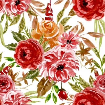 水彩花柄赤オレンジのシームレスパターン , 赤, シームレス, パターン 背景画像
