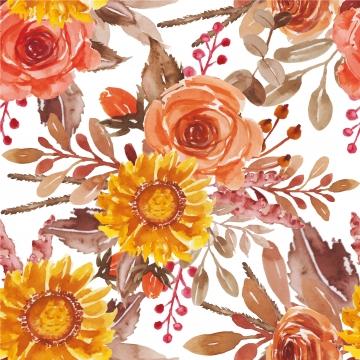शादी के निमंत्रण और ग्रीटिंग कार्ड के लिए पानी के रंग का पुष्प लाल नारंगी पीले गुलदस्ते की व्यवस्था , पैटर्न, पुष्प, पानी के रंग का पृष्ठभूमि छवि