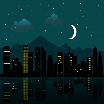 city at night , Night, City, Moon Background image