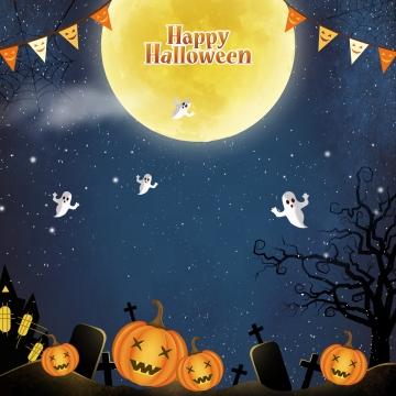 खुश हेलोवीन रात और चांदनी में उड़ते हुए प्रेत , हेलोवीन, खुश हेलोवीन, हेलोवीन ग्राफिक पृष्ठभूमि छवि