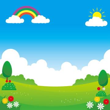ilustrasi vektor landskap dengan reka bentuk lucu sesuai untuk latar belakang kanak kanak , Vektor, Lanskap, Park imej latar belakang