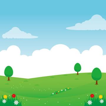 प्रकृति परिदृश्य वेक्टर चित्रण हरे फूल और पेड़ के साथ हरी घास का मैदान वेक्टर चित्रण , आकाश, पृष्ठभूमि, चित्रण पृष्ठभूमि छवि