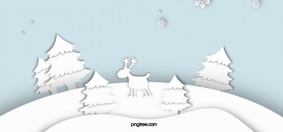 紙カット冬漫画エルクの森スノーフレーク青背景, 紙切り, 白, Winter 背景画像