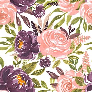 無縫模式水彩花玫瑰粉紅色紫色 , 花的, 模式, 春天 背景圖片