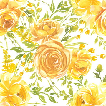 無縫模式水彩花玫瑰黃色 , 模式, 花的, 水彩畫 背景圖片