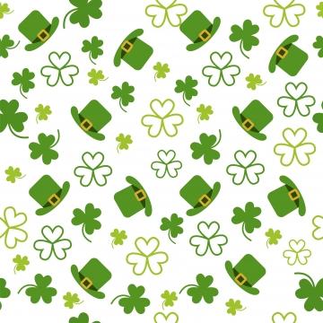聖パトリックの日緑の帽子とのシームレスなパターンと葉 , 背景, 祝い, クローバー 背景画像