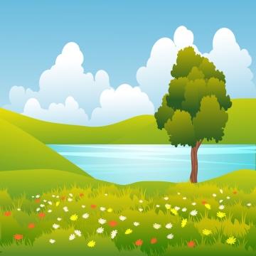 landskap musim panas dengan rumput hijau dan tasik , Musim Panas, Lanskap, Sifat imej latar belakang