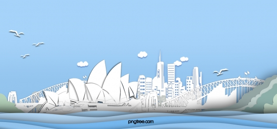 white paper cut sydney city landmark building blue background, White, Paper-cut, Landmark Background image