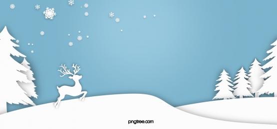 백서 컷 겨울 점프 엘크 숲 눈송이 파란색 배경, 종이를 오리다, 백색, Winter 배경 이미지