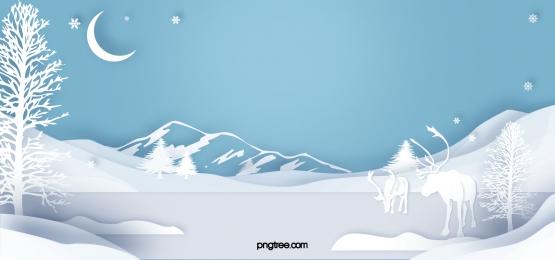 겨울 엘크 종이 잘라 밤 하늘색 배경, 성공, 달., 푸른색 배경 이미지