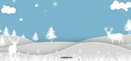 冬のエルクホワイトペーパーカット山森林星空の青い背景, 紙切り, 白, Winter 背景画像