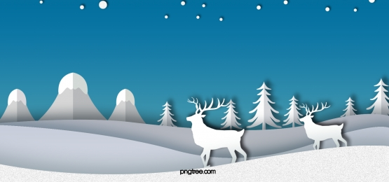 winter elk white paper cut night sky blue background, Langit Berbintang, Biru, Winter imej latar belakang