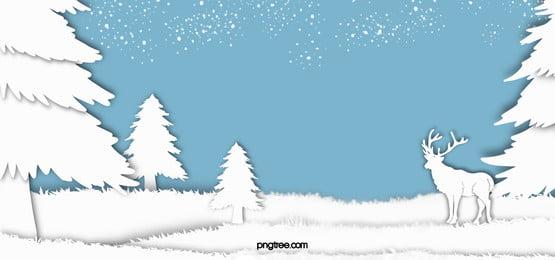冬のエルクホワイトペーパーカット森雪片青い背景, 紙切り, Winter, 白 背景画像