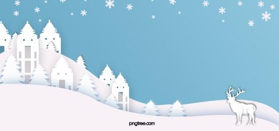 أقات أثناء الشتاء، جانب التل، الأيلات الورقية   قطع قرية، ثلجي البياض، الخلفية, الأزرق, Snowflake, Elk صور الخلفية