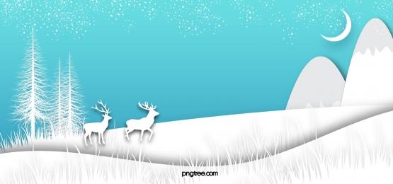 겨울 밤 하늘 꿈꾸는 푸른 엘크 종이 컷 눈 배경, Elk, 푸른색, Snowflake 배경 이미지