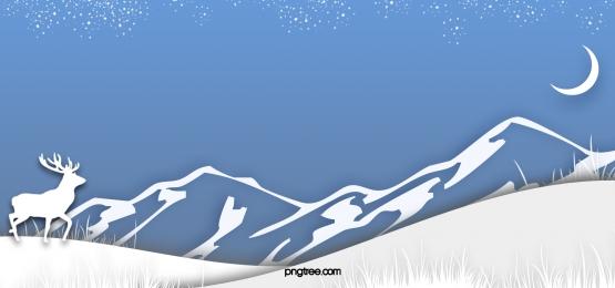 겨울 밤 하늘 산 야생 엘크 종이 잘라 눈 배경, Elk, Snowflake, 푸른색 배경 이미지