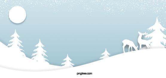 सर्दियों की बर्फीली रात आसमानी लकड़बग्घा एल्क पेपर कट नीली पृष्ठभूमि, चाँद, Winter, Decoupage पृष्ठभूमि छवि