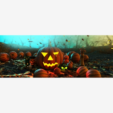 हेलोवीन कद्दू 3 डी चित्रण के साथ डरावना जंगल , हेलोवीन, उत्सव, छुट्टियों पृष्ठभूमि छवि