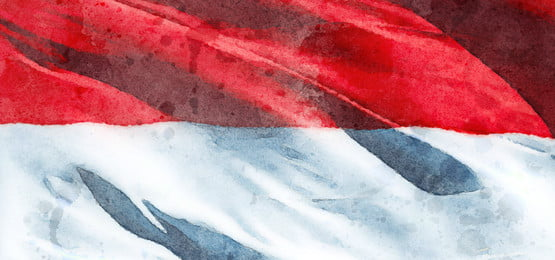 watercolor indonesia flag brush background, Watercolor, Indonesia, Flag Background image