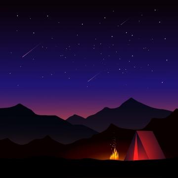 सुंदर तारों वाली रात में शिविर , शिविर, तम्बू, अलाव पृष्ठभूमि छवि