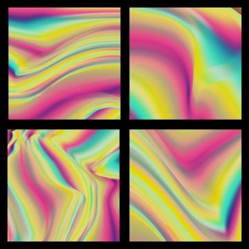 holografi latar belakang menetapkan trend seni poster vektor 80 an   90 hologram glitch bergaya tekstur berwarna warni neon pelangi cecair berwarna warni kesan berkilat kad poster reka bentuk fesyen ilustrasi , Holografi, Vektor, Hologram imej latar belakang